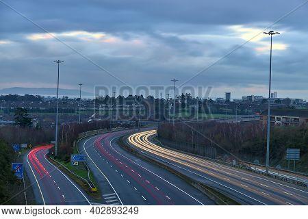 Beautiful Very Long Exposure Evening View Of Light Trails Of Vehicles On Motorway M50 Dublin, Irelan