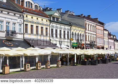 Rzeszow, Poland - August 26, 2020 : Main Market Square With Colorful Historic Tenement Houses