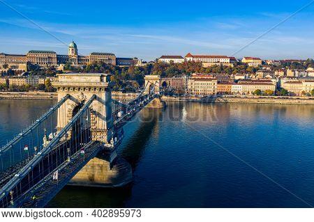 Budapest, Hungary Chain Bridge Buda castle panorama photo