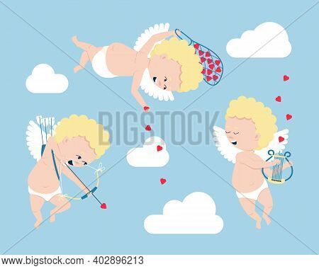 Set Of Cupids - Symbols Of Valentine's Day. Cupids Fly In The Clouds, Play Romantic Music On The Str