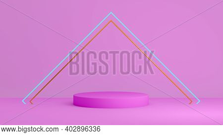 Pedestal Podium. Abstract 3d Concept Illuminated Pedestal By Spotlights. Perfect Image For Fashion,