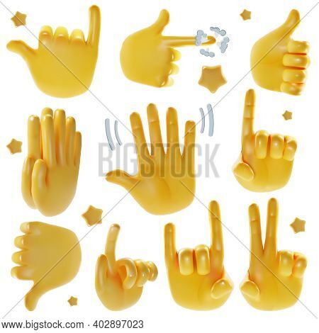 Realistic Detailed 3d Emoji Hands Set Include Of Victory, Direction, Pray, Support And Hello Signs.