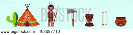 Set Of Indigenous Cartoon Icon Design Template With Various Models. Modern Vector Illustration Isola