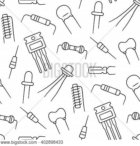 Seamless Pattern From Electrical Components. Diode, Transistor Capacitor, Resistor And Inductor. Han