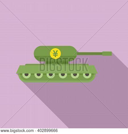 Trade War China Tank Icon. Flat Illustration Of Trade War China Tank Vector Icon For Web Design