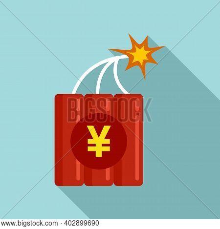 Trade War Dynamite Icon. Flat Illustration Of Trade War Dynamite Vector Icon For Web Design
