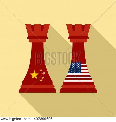 Trade War Chess Icon. Flat Illustration Of Trade War Chess Vector Icon For Web Design