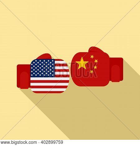 Trade War Boxing Gloves Icon. Flat Illustration Of Trade War Boxing Gloves Vector Icon For Web Desig