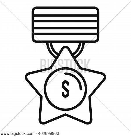 Trade War Medal Icon. Outline Trade War Medal Vector Icon For Web Design Isolated On White Backgroun