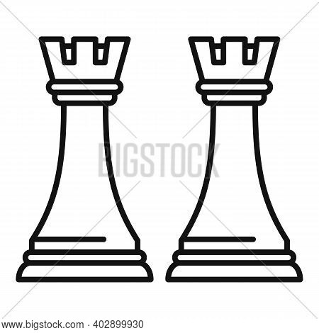 Trade War Chess Icon. Outline Trade War Chess Vector Icon For Web Design Isolated On White Backgroun