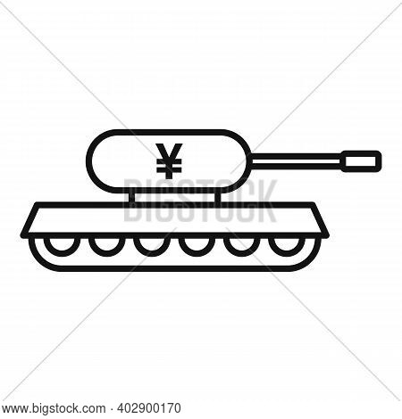 Trade War China Tank Icon. Outline Trade War China Tank Vector Icon For Web Design Isolated On White