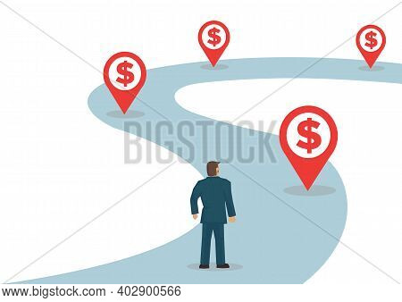 Businessman Walking On His Path Of Wealth With Dollar Indicators. Flat Character Vector Illustration