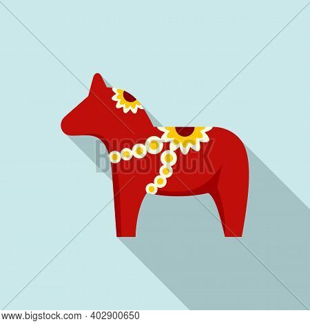Swedish Red Horse Icon. Flat Illustration Of Swedish Red Horse Vector Icon For Web Design