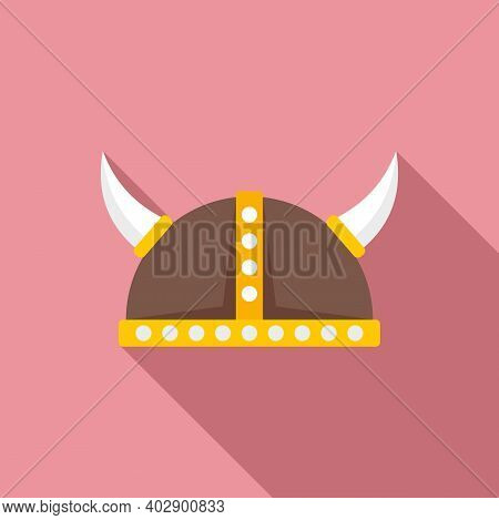 Swedish Viking Helmet Icon. Flat Illustration Of Swedish Viking Helmet Vector Icon For Web Design