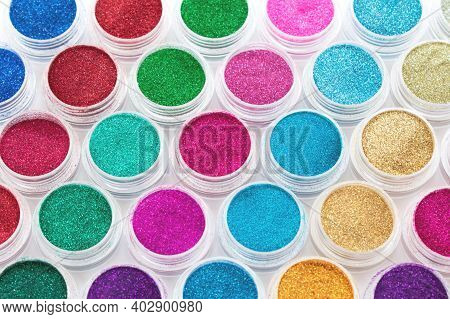 Trendy Multicolored Glitter In Jars. Shimmer, Sparkle For Makeup, Manicure. Shiny Powder. Bright Pig