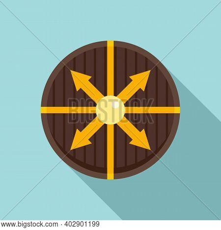 Viking Round Shield Icon. Flat Illustration Of Viking Round Shield Vector Icon For Web Design