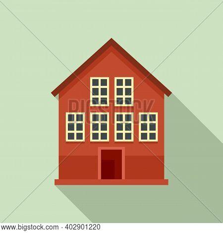Wood Swedish House Icon. Flat Illustration Of Wood Swedish House Vector Icon For Web Design