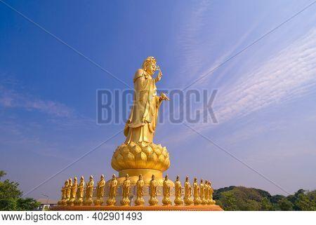Goddess Guan Yin Shrine, Fo Guang Shan Thaihua Temple, Bangkok City, Thailand.