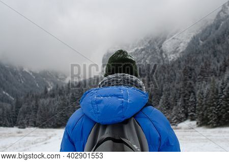 Man Hiking With Backpack, Fogy Winter Mountains