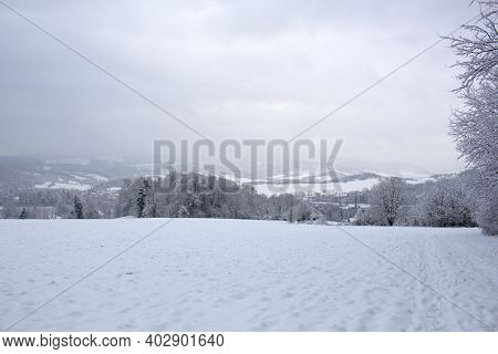 Blizzard In Mountains. Magic Scenery With Clouds And Fog On A Sunny Winter Morning. Trees In Mist On