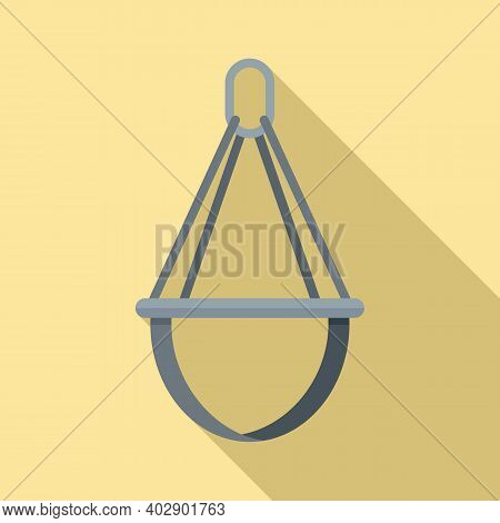 Industrial Climber Protection Belt Icon. Flat Illustration Of Industrial Climber Protection Belt Vec