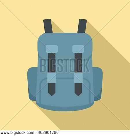 Industrial Climber Backpack Icon. Flat Illustration Of Industrial Climber Backpack Vector Icon For W