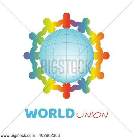 Colorful Kids Silhouette Around The Blue Ball Symbolize Different Culture Standing Together Holding