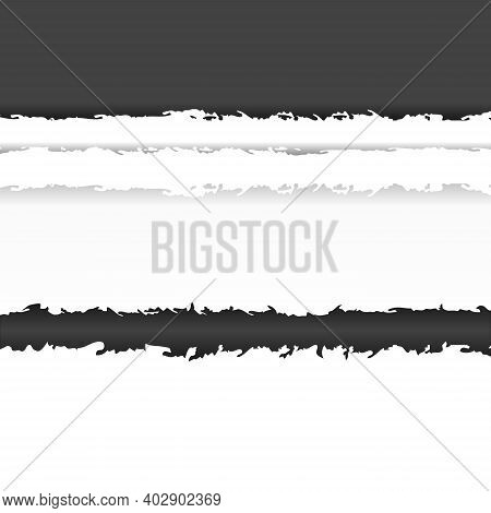 Pieces Of Torn Black Gray And White Paper With Soft Shadow On White Background. Ripped Pieces Of Hor