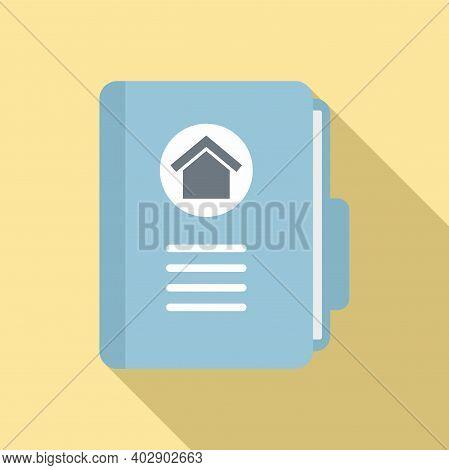 Realtor House Folder Icon. Flat Illustration Of Realtor House Folder Vector Icon For Web Design