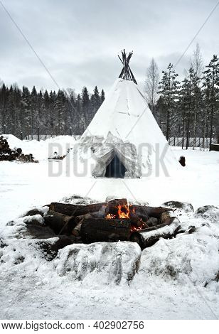 Teepee Of The Sami People - The Indigenous Home Of The North. Karelia, Russia