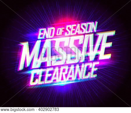 End of season massive clearance sale fashion banner, synthwave style, raster version