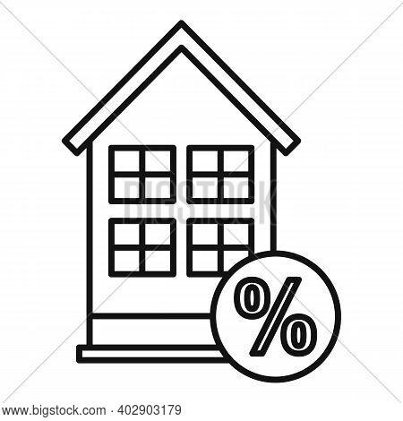 Realtor Percent House Buy Icon. Outline Realtor Percent House Buy Vector Icon For Web Design Isolate