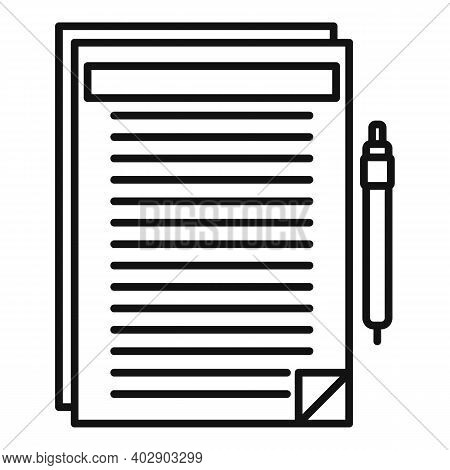 Realtor Documents Icon. Outline Realtor Documents Vector Icon For Web Design Isolated On White Backg