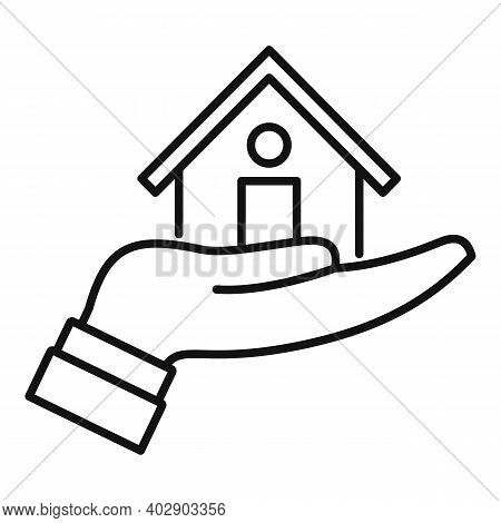 Realtor Care House Icon. Outline Realtor Care House Vector Icon For Web Design Isolated On White Bac