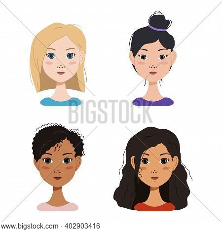 Different Emotions Of A Blonde, Brunette Girl And Girls Of Different Nationalities. Happy, Sad, Surp