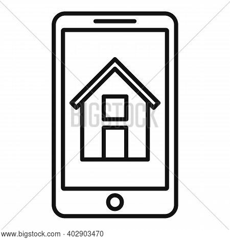 Phone Realtor House Icon. Outline Phone Realtor House Vector Icon For Web Design Isolated On White B
