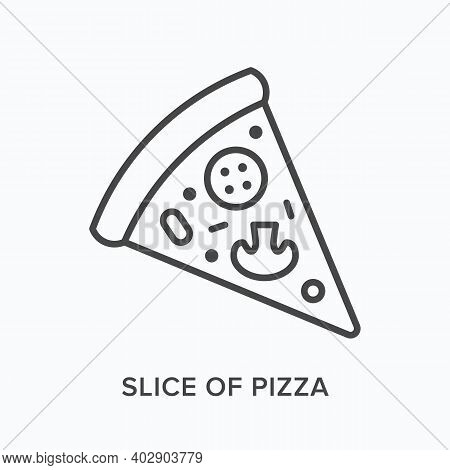 Slice Of Pizza Flat Line Icon. Vector Outline Illustration Of Pepperoni Piece. Black Thin Linear Pic