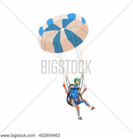 Parachuting Man Paratrooper Descenting Using Parachute Vector Illustration