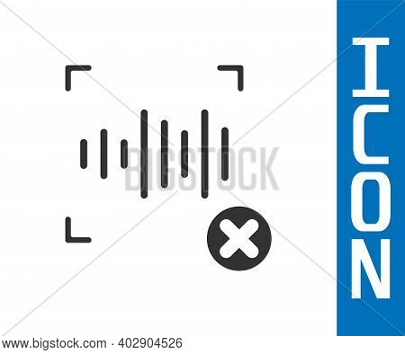 Grey Rejection Voice Recognition Icon Isolated On White Background. Voice Biometric Access Authentic