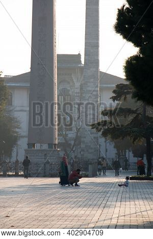 October 17, 2020 Istanbul / Turkey Obelisk And Knitted Column In Sultanahmet Square