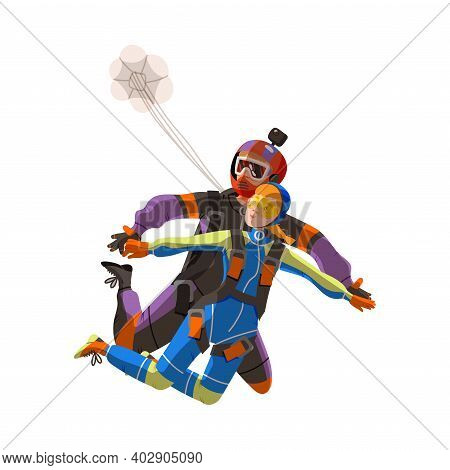 Man And Woman Paratrooper Or Parachutist Free-falling And Descenting With Parachute Vector Illustrat