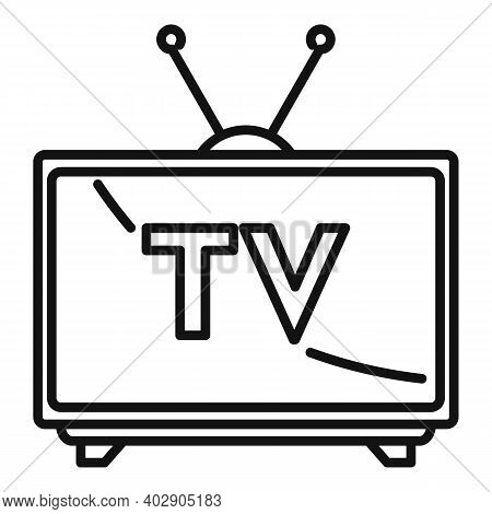 House Public Tv Set Icon. Outline House Public Tv Set Vector Icon For Web Design Isolated On White B