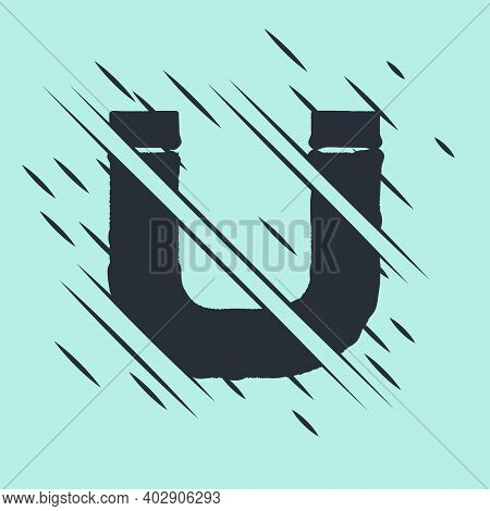 Black Magnet Icon Isolated On Green Background. Horseshoe Magnet, Magnetism, Magnetize, Attraction.