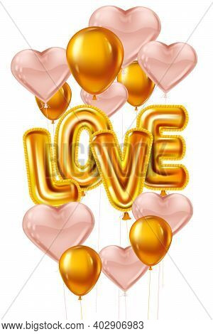Happy Valentines Day, Love Gold Helium Metallic Glossy Balloons Realistic Text, Heart Shape Flying P