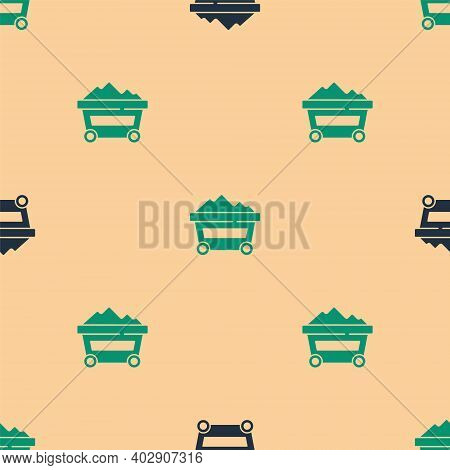 Green And Black Coal Mine Trolley Icon Isolated Seamless Pattern On Beige Background. Factory Coal M
