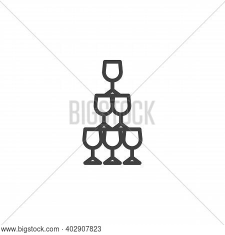 Champagne Glass Pyramid Line Icon. Linear Style Sign For Mobile Concept And Web Design. Champagne Pa