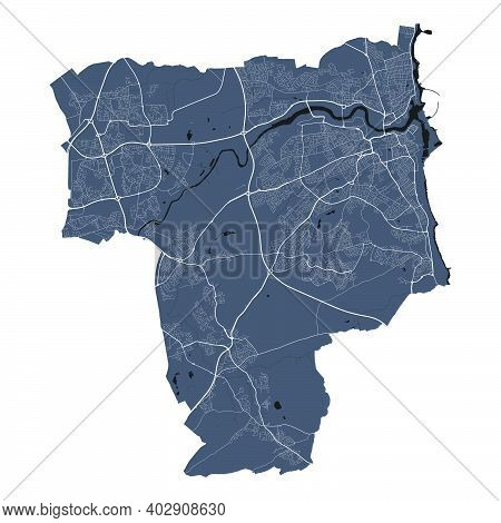 Sunderland Map. Detailed Vector Map Of Sunderland City Administrative Area. Cityscape Poster Metropo