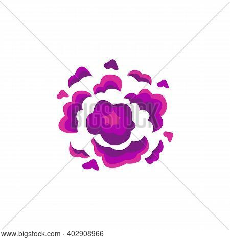 Comic Bomb Explosion Effect With Purple Puffs Flat Vector Illustration Isolated.