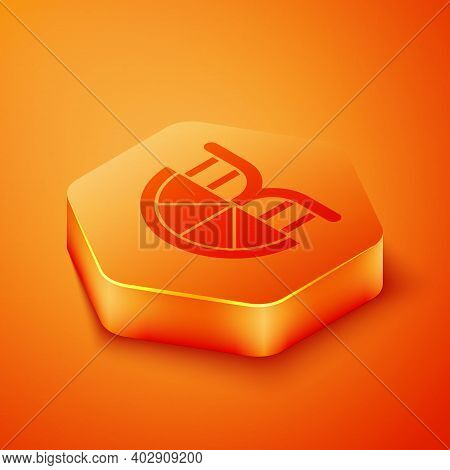Isometric Genetically Modified Citrus Fruit Icon Isolated On Orange Background. Orange In A Cut. Hea