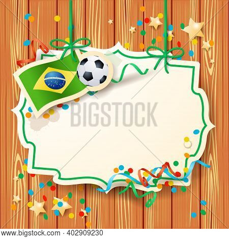 Soccer Background With Label And Brazilian Flag, Vector Eps10